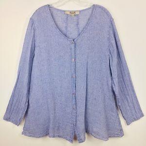 Flax Lagenlook chambray Linen Button Down Shirt